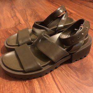 Olive green chunky sandal